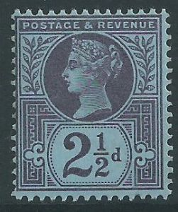 SG201 2½d Blue 1887 Jubilee Issue MOUNTED Mint (Queen Victoria Surface Printed Stamps)